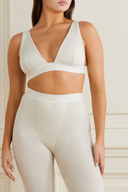SKIMS Plunge ribbed cotton-blend jersey bralette - Bone