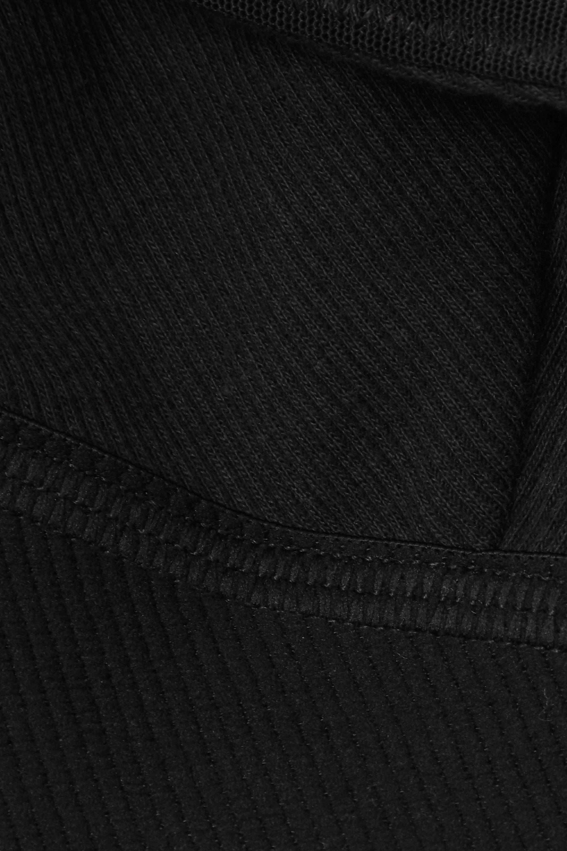 SKIMS Plunge ribbed cotton-blend jersey bralette - Soot