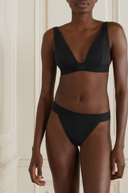 SKIMS Cotton Collection ribbed cotton-blend jersey thong - Soot