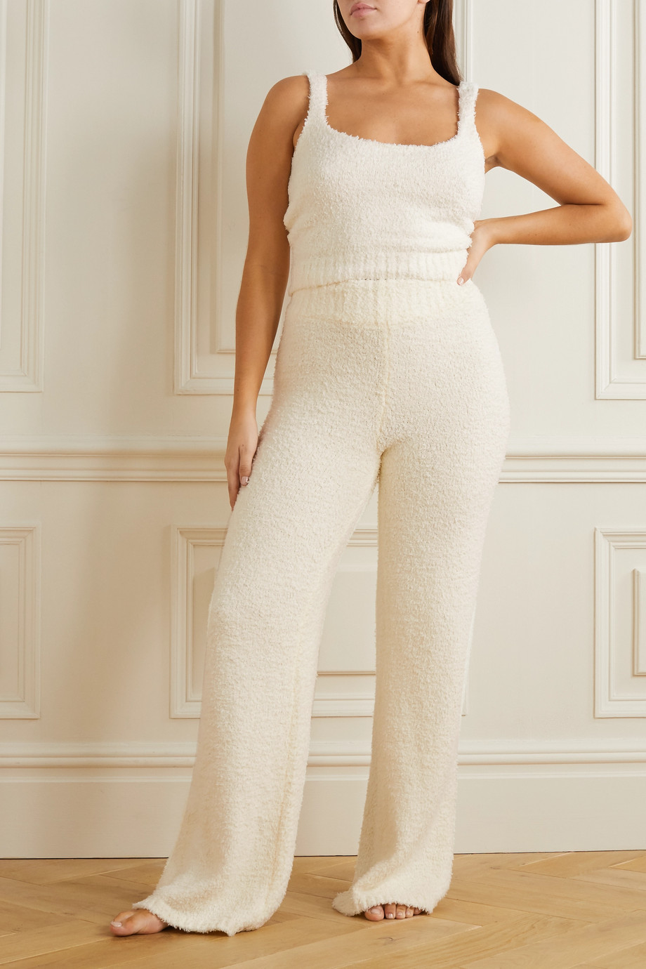 SKIMS Cozy Knit bouclé pants - Bone