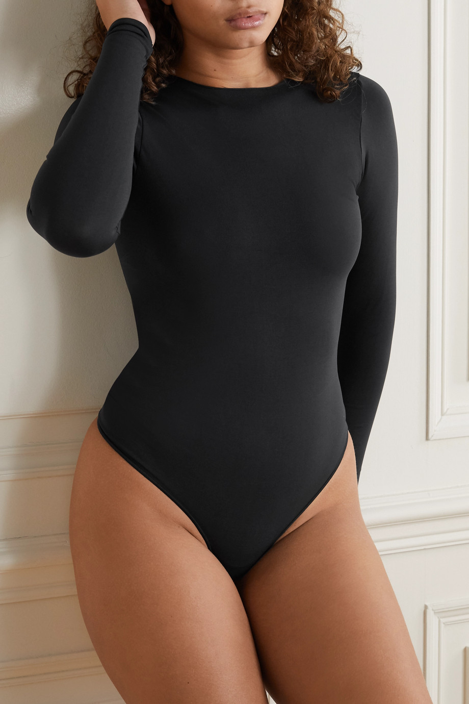 SKIMS Essential Crew Neck Thong bodysuit - Onyx
