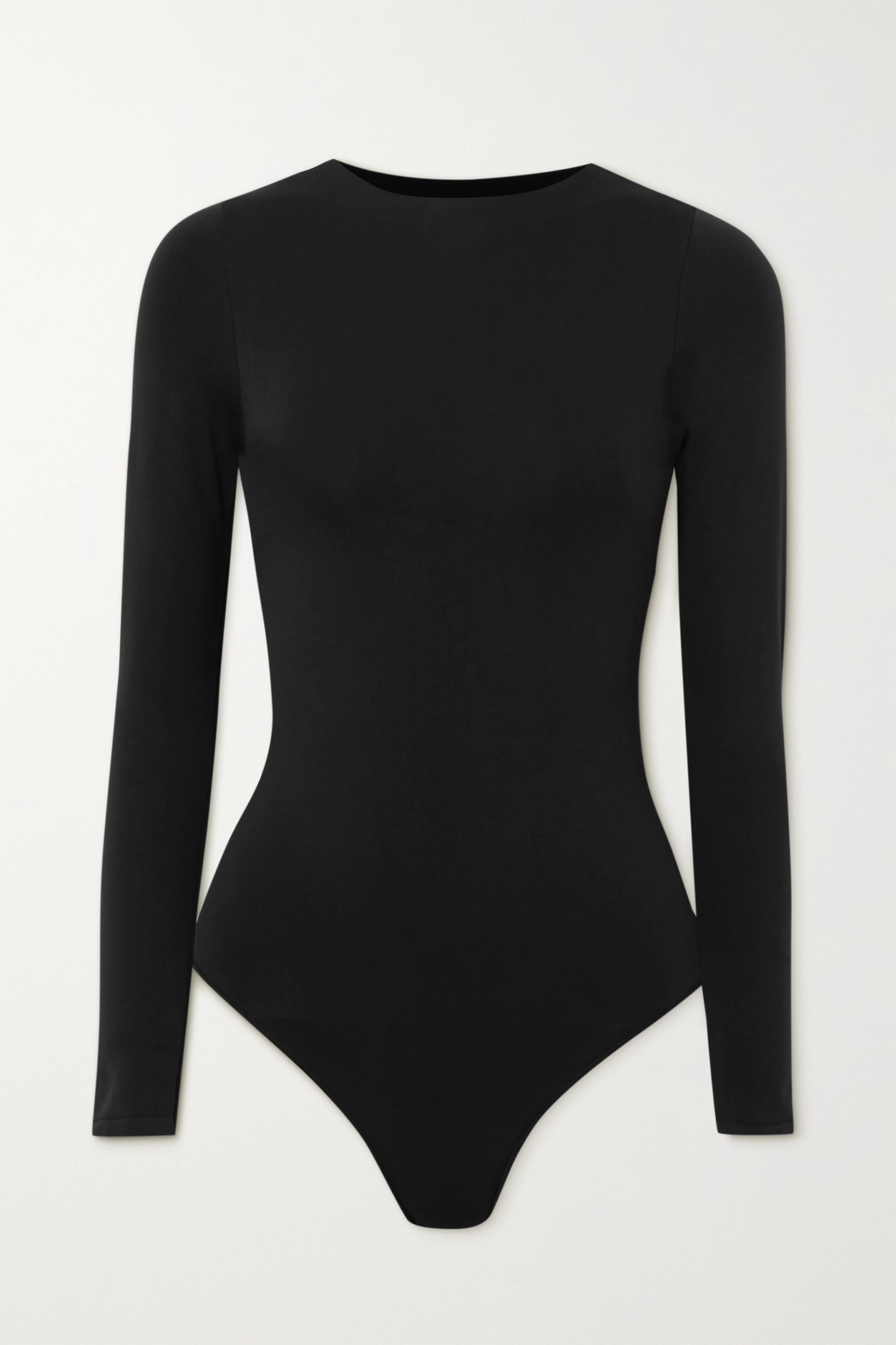SKIMS Essential Crew Neck Long Sleeve Bodysuit – Onyx – String-Body mit Rundhalsausschnitt