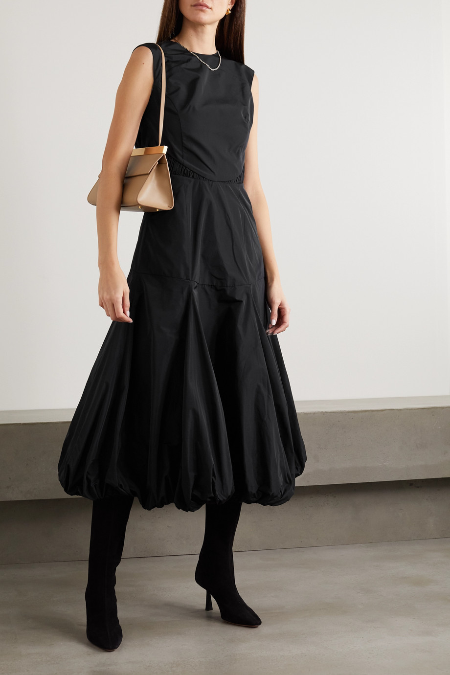 Renaissance Renaissance Yoko ruched cotton-taffeta midi dress