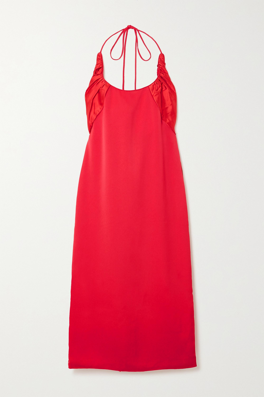 Renaissance Renaissance Flash crepe and ruched silk-satin halterneck midi dress