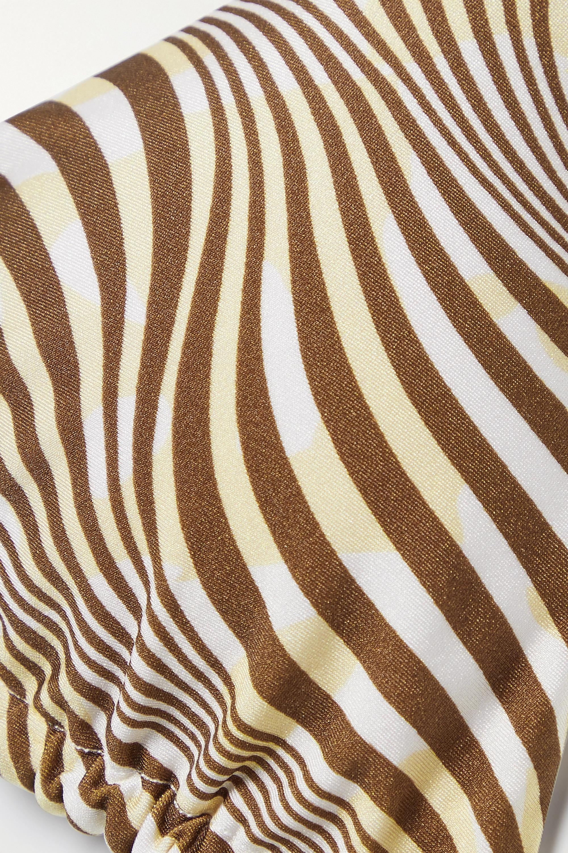 Cult Gaia Claudia embellished zebra-print halterneck bikini top