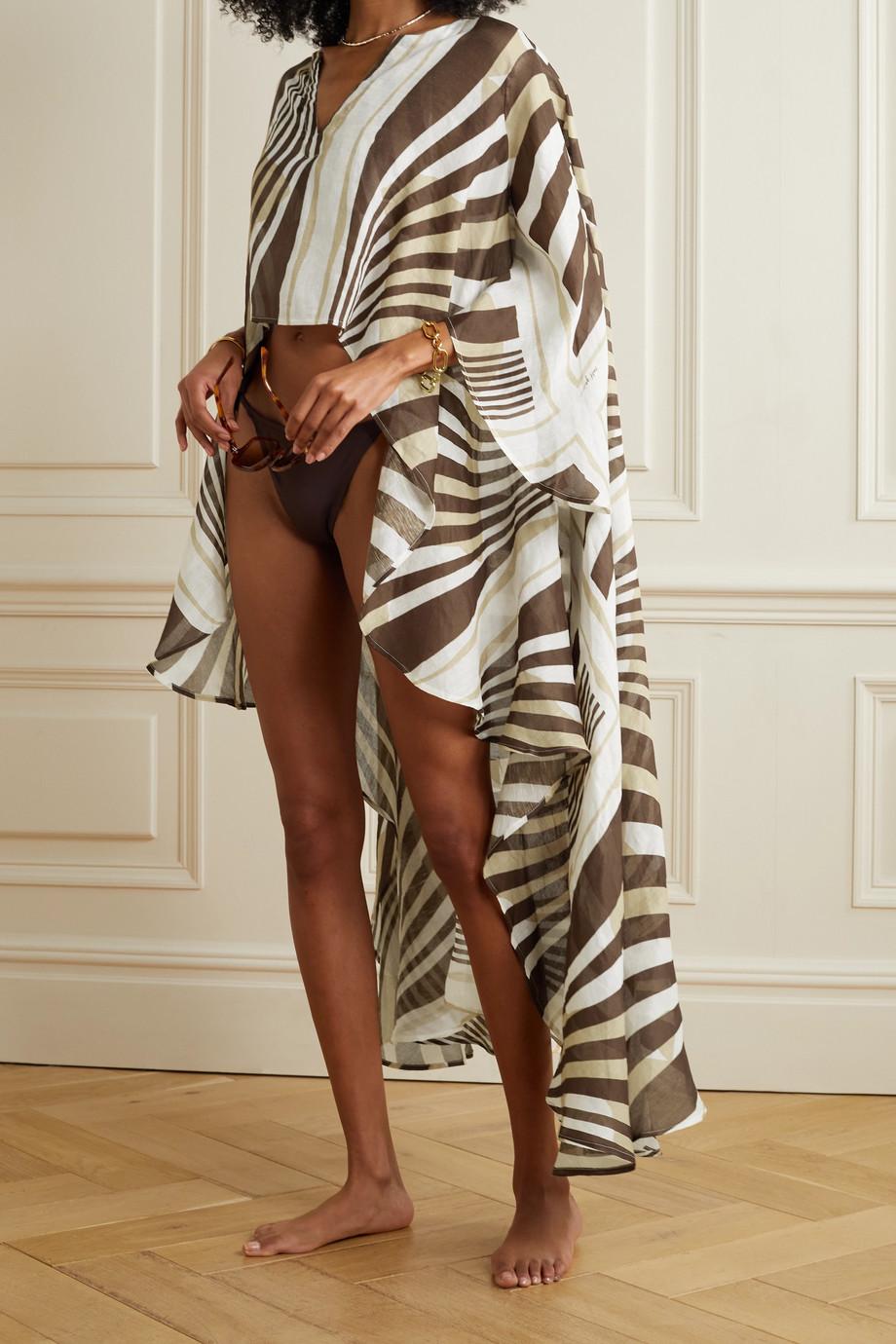 Cult Gaia Goldie asymmetric printed linen and silk-blend kaftan
