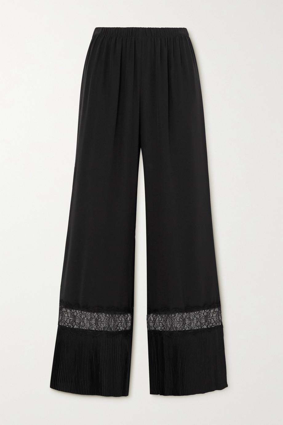 Sleeping with Jacques The Osiris lace-trimmed plissé-silk crepe de chine pajama pants