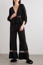 Sleeping with Jacques The Osiris lace-trimmed silk crepe de chine pajama top