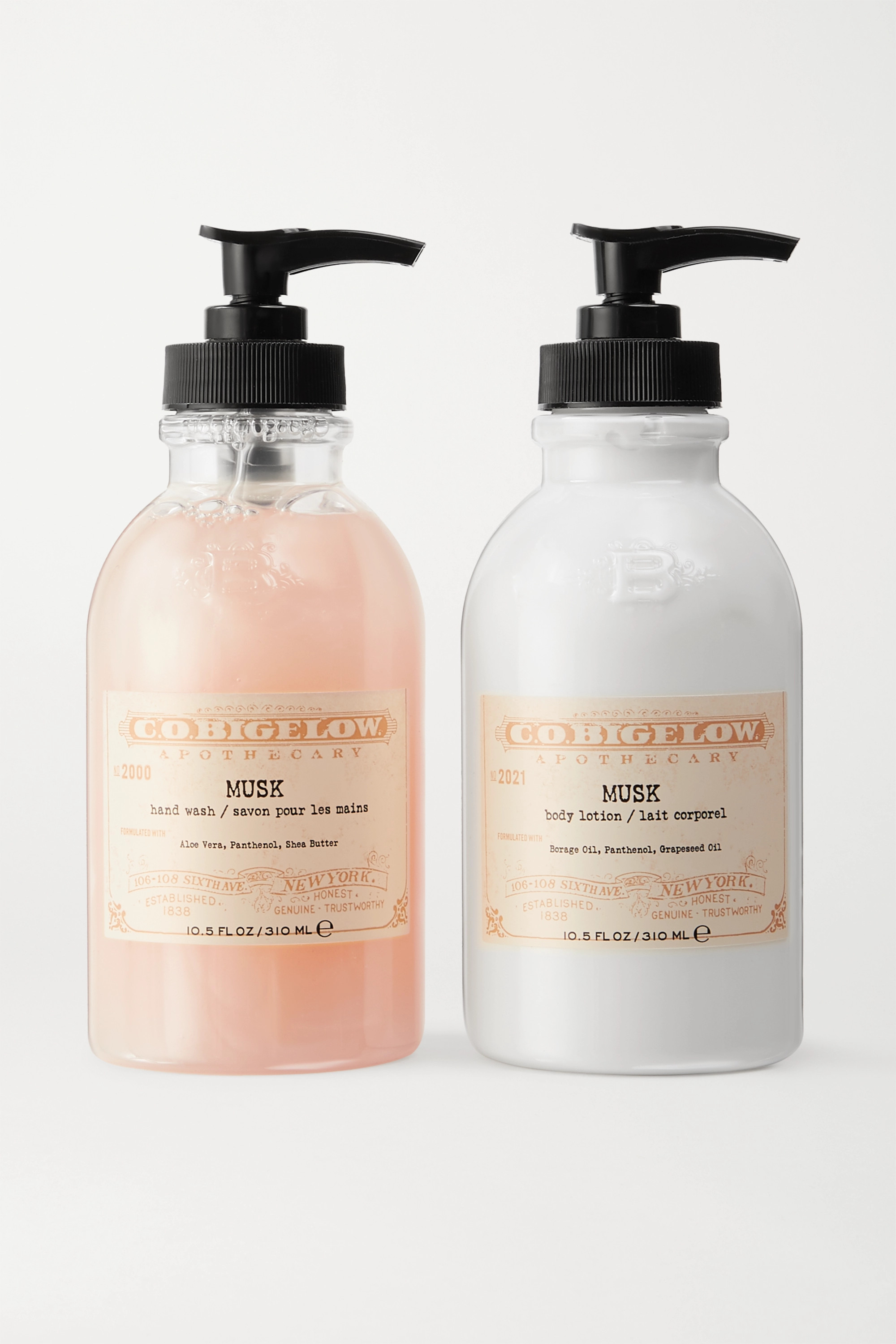 C.O. Bigelow Iconic Collection Hand Wash and Body Lotion Set – Musk – Set aus Handwaschgel und Bodylotion