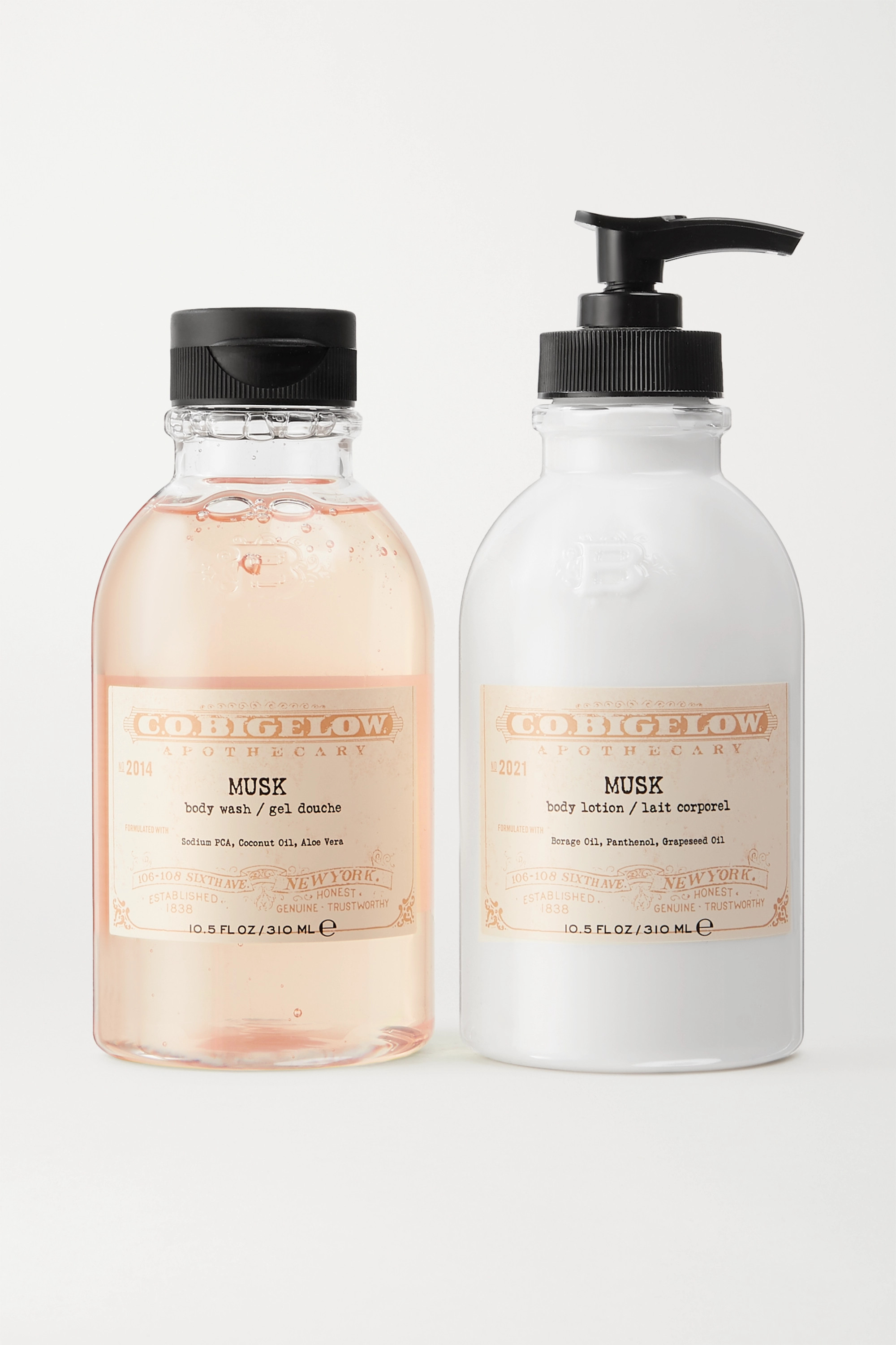C.O. Bigelow Iconic Collection Body Wash and Lotion Set – Musk – Set aus Duschgel und Bodylotion