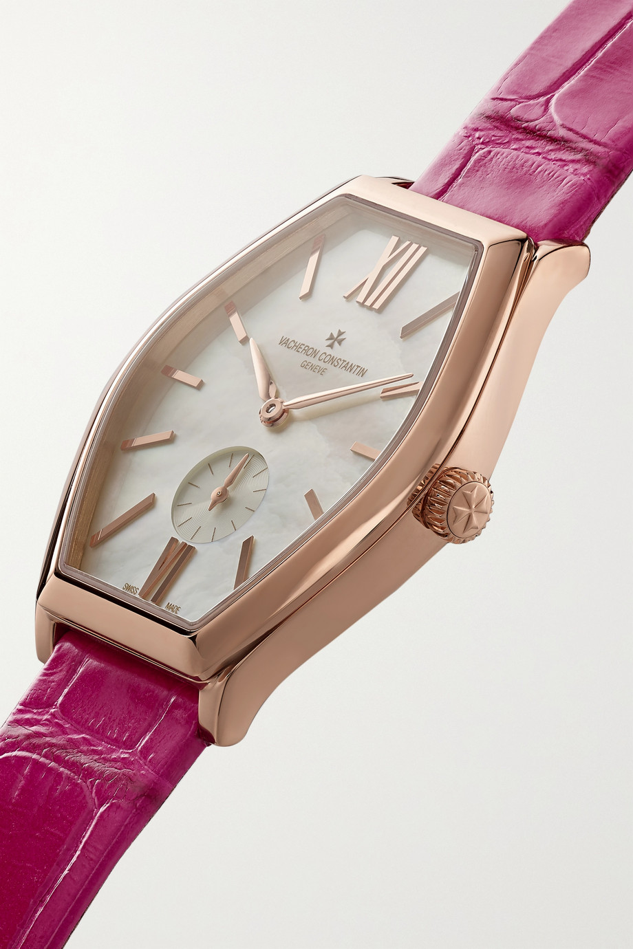 Vacheron Constantin Malte 34.4 毫米 18K 粉红金钻石小号手动上链腕表(短吻鳄鱼皮表带)