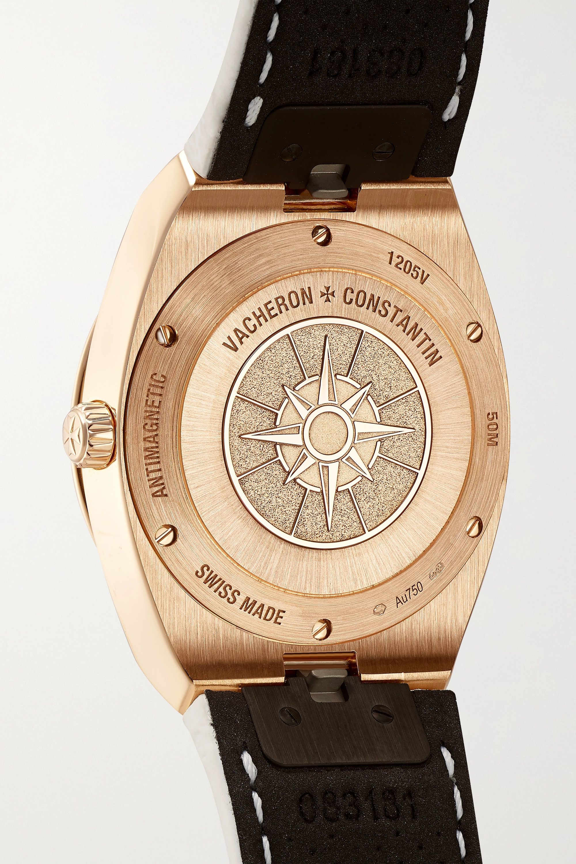 Vacheron Constantin Overseas 33 mm Uhr aus 18 Karat Roségold mit Diamanten und Alligatorlederarmband