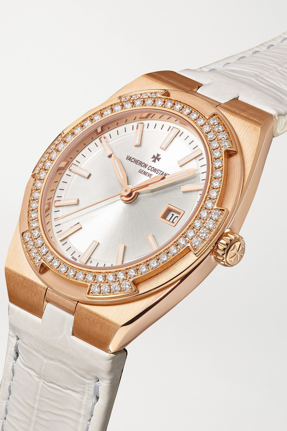 Vacheron Constantin Overseas 33mm 18-karat pink gold, alligator and diamond watch