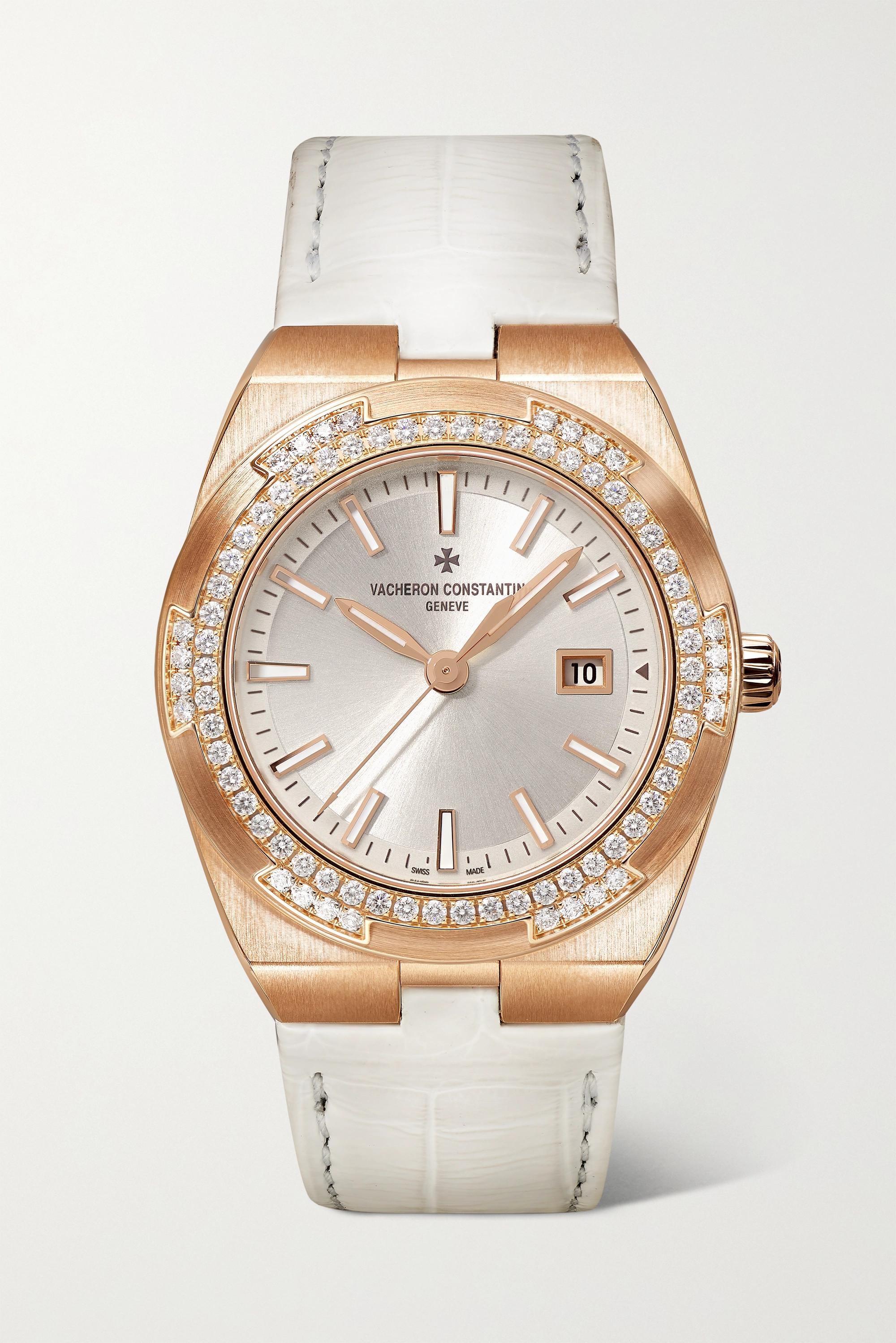 Vacheron Constantin Overseas 33mm 18-karat pink gold, alligator and diamond watch