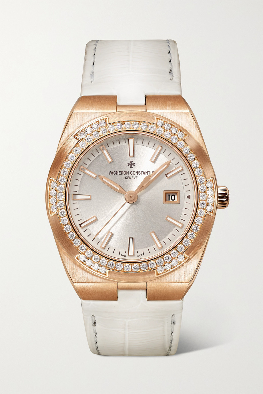 Vacheron Constantin Montre en or rose 18 carats et diamants à bracelet en alligator Overseas 33 mm