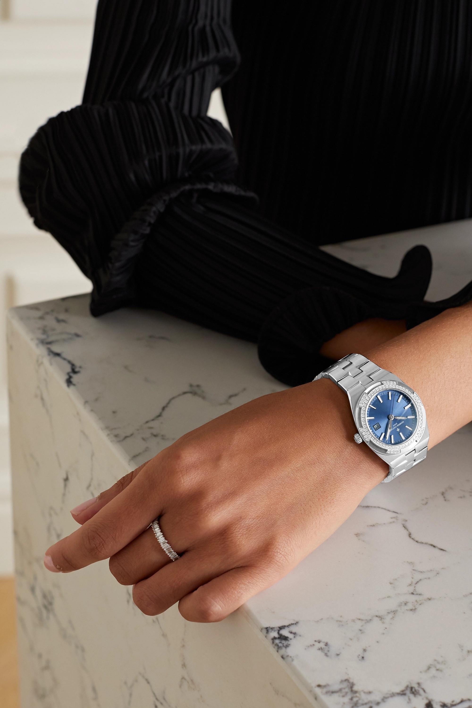 Vacheron Constantin Overseas Quartz 33mm stainless steel and diamond watch