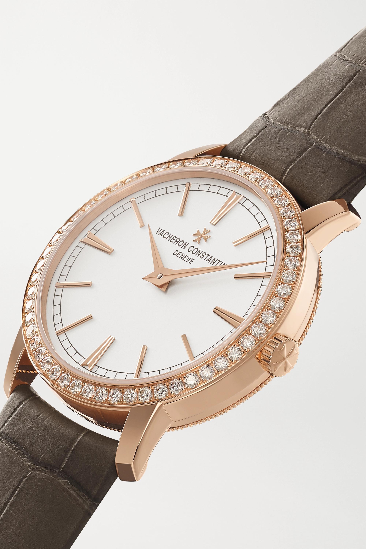 Vacheron Constantin Traditionnelle Hand-Wound 33 mm Uhr aus 18 Karat Roségold mit Diamanten und Alligatorlederarmband