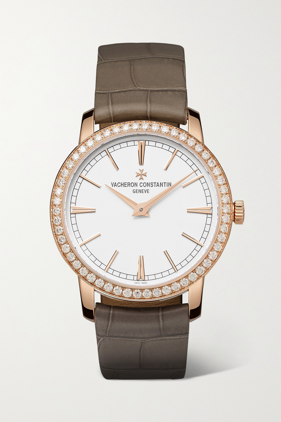 Vacheron Constantin Traditionnelle Hand-Wound 33mm 18-karat pink gold, alligator and diamond watch