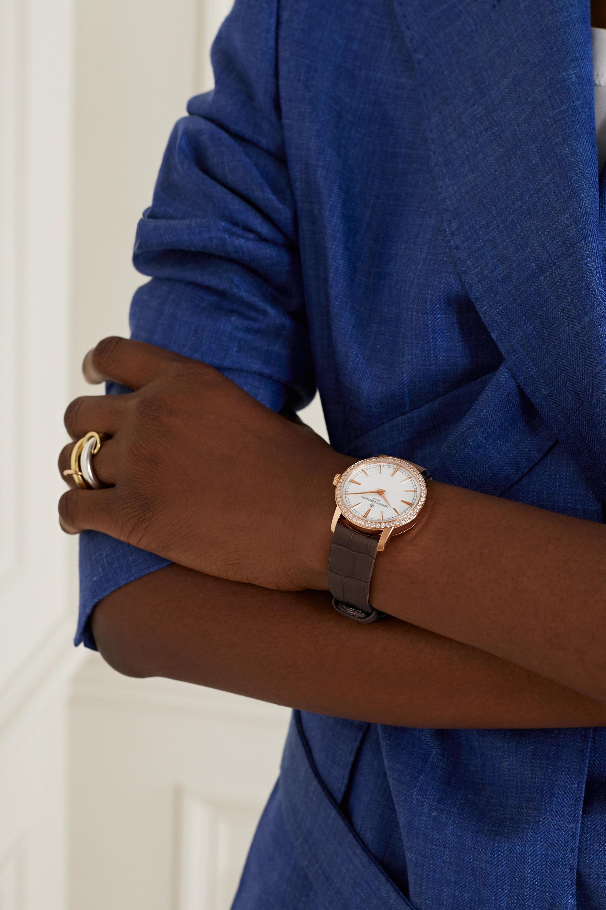 Vacheron Constantin Traditionnelle Hand-Wound 33mm 18-karat pink gold, alligator and diamond watch
