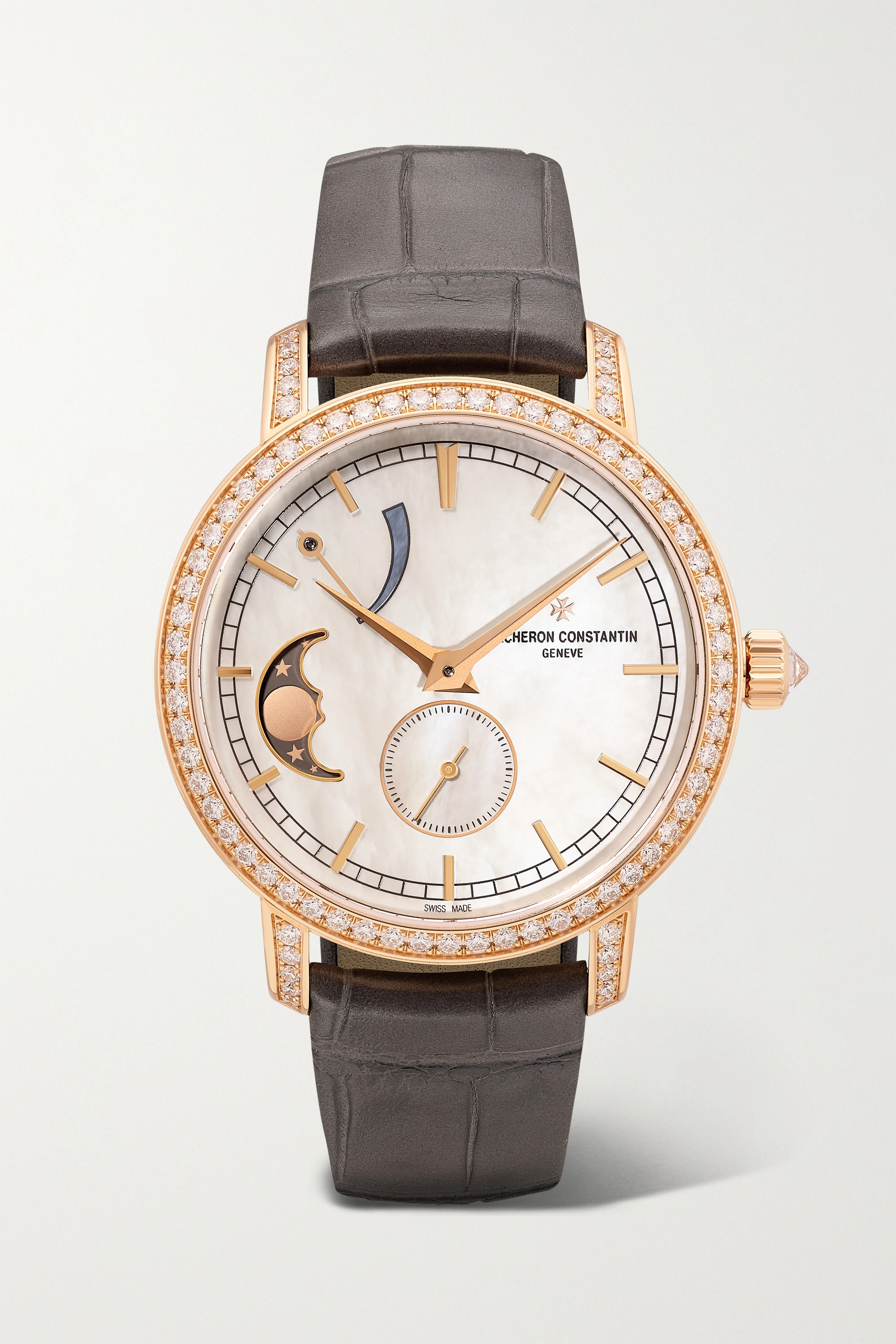 Vacheron Constantin Traditionnelle 36mm 18-karat pink gold, alligator, diamond and mother-of-pearl watch