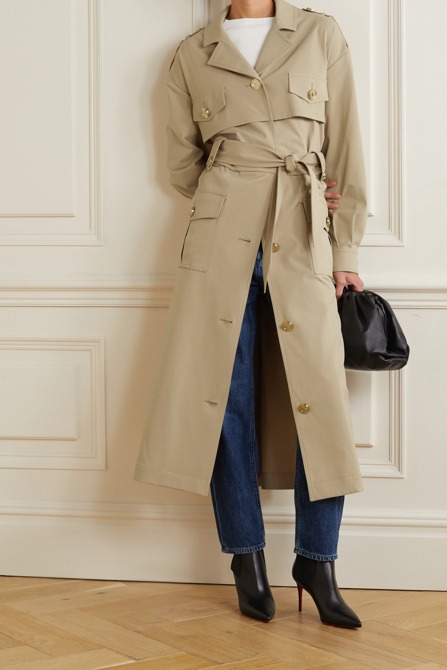 Balmain Belted woven trench coat