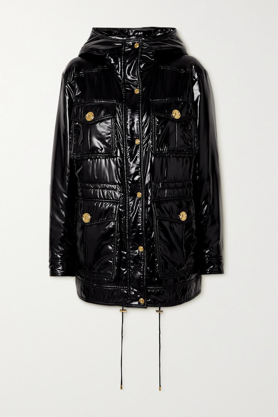 Balmain Wattierte Jacke aus glänzendem Shell mit Kapuze