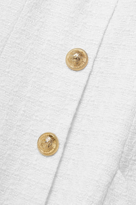 Balmain Button-embellished metallic tweed mini dress