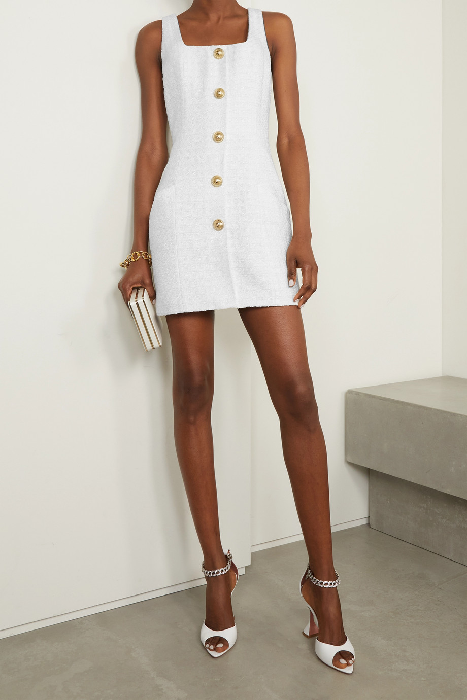 Balmain Button-embellished metallic tweed mini dress