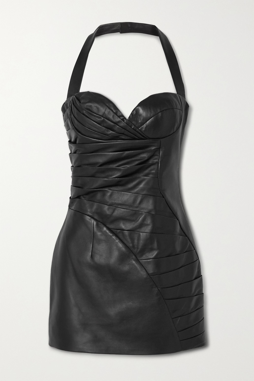 Balmain Pleated leather halterneck mini dress