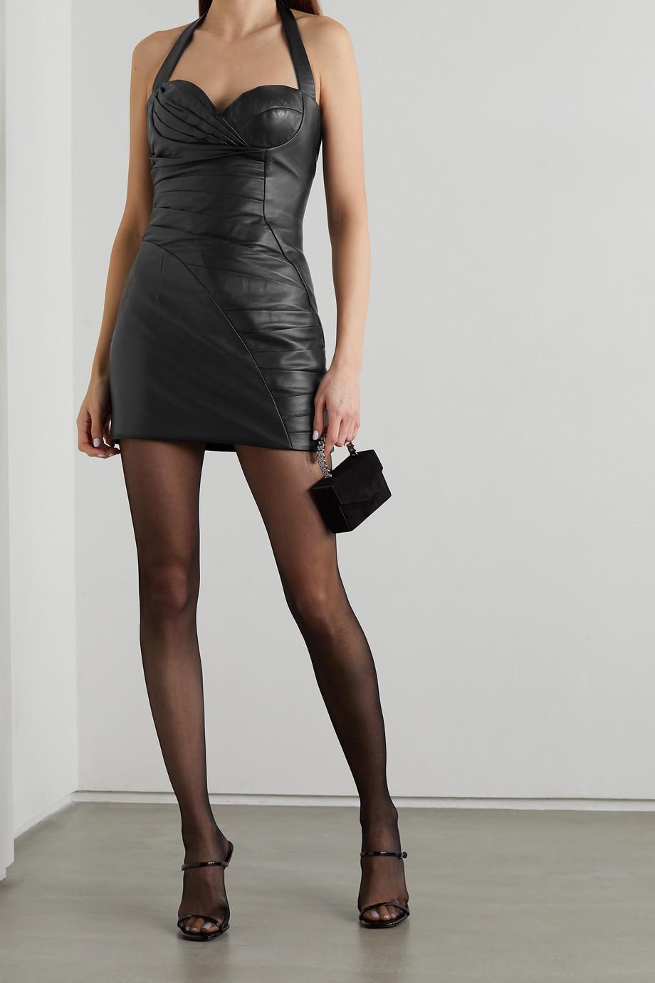 Balmain Neckholder-Minikleid aus Leder mit Falten