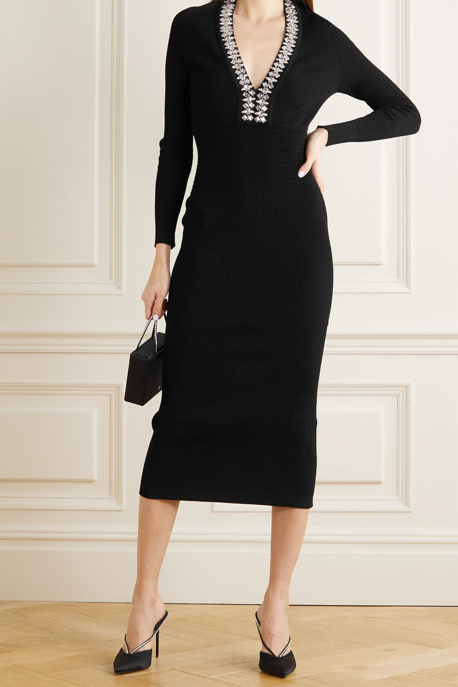 Balmain Crystal-embellished ribbed-knit midi dress