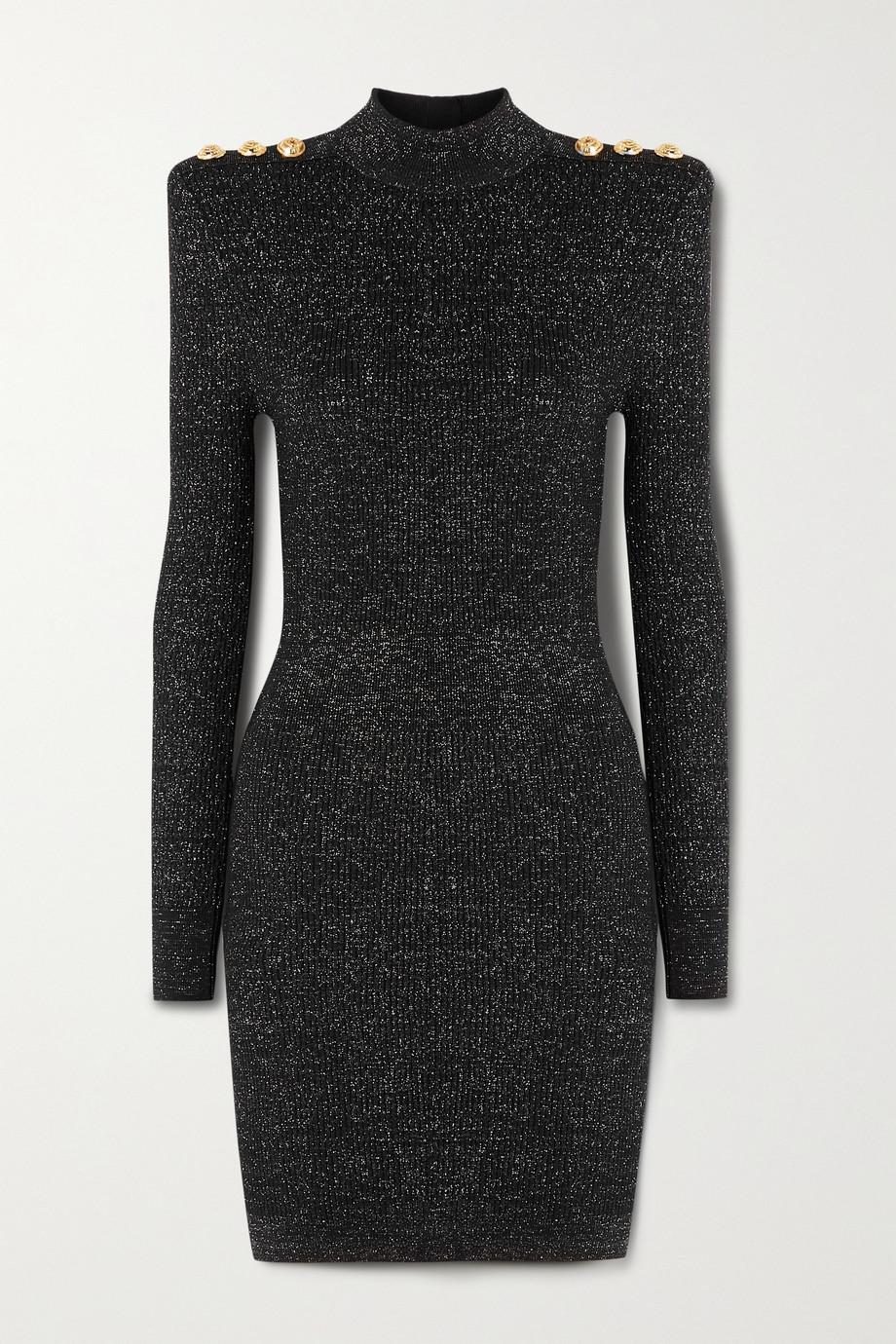 Balmain Button-embellished metallic ribbed-knit turtleneck mini dress