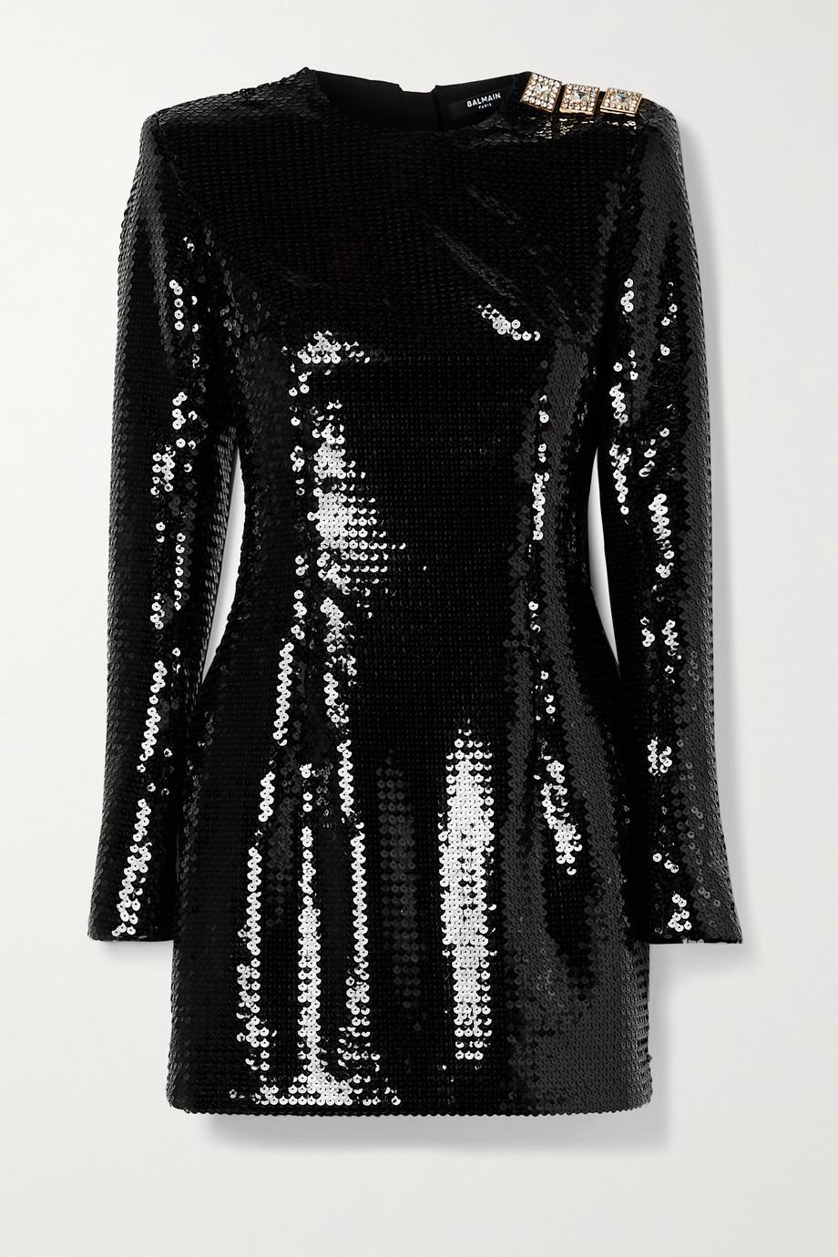 Balmain Mini-robe en crêpe à sequins et à cristaux