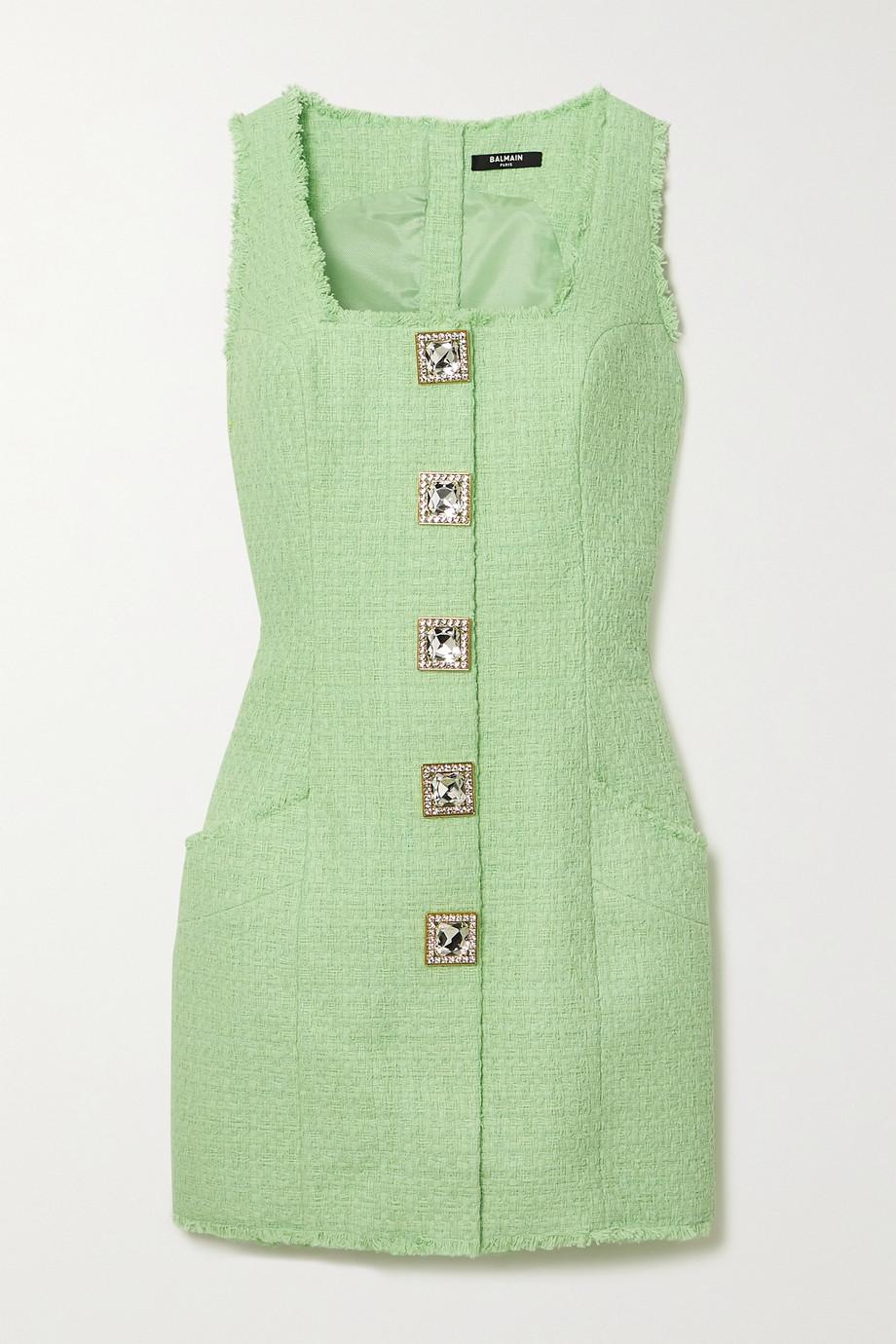 Balmain Minikleid aus Tweed aus einer Baumwollmischung mit Kristallen