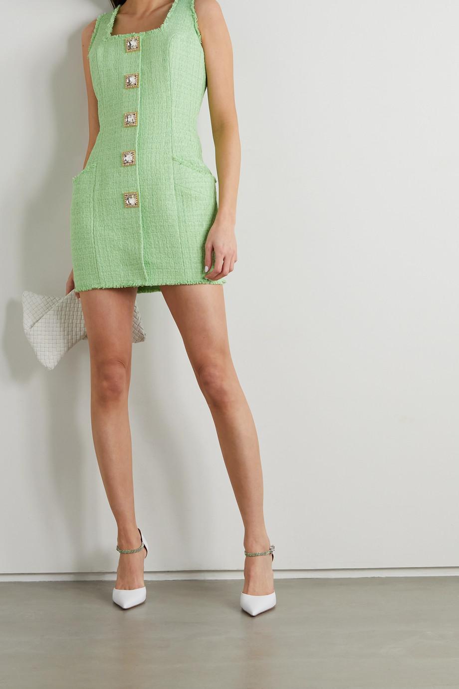 Balmain Crystal-embellished cotton-blend tweed mini dress