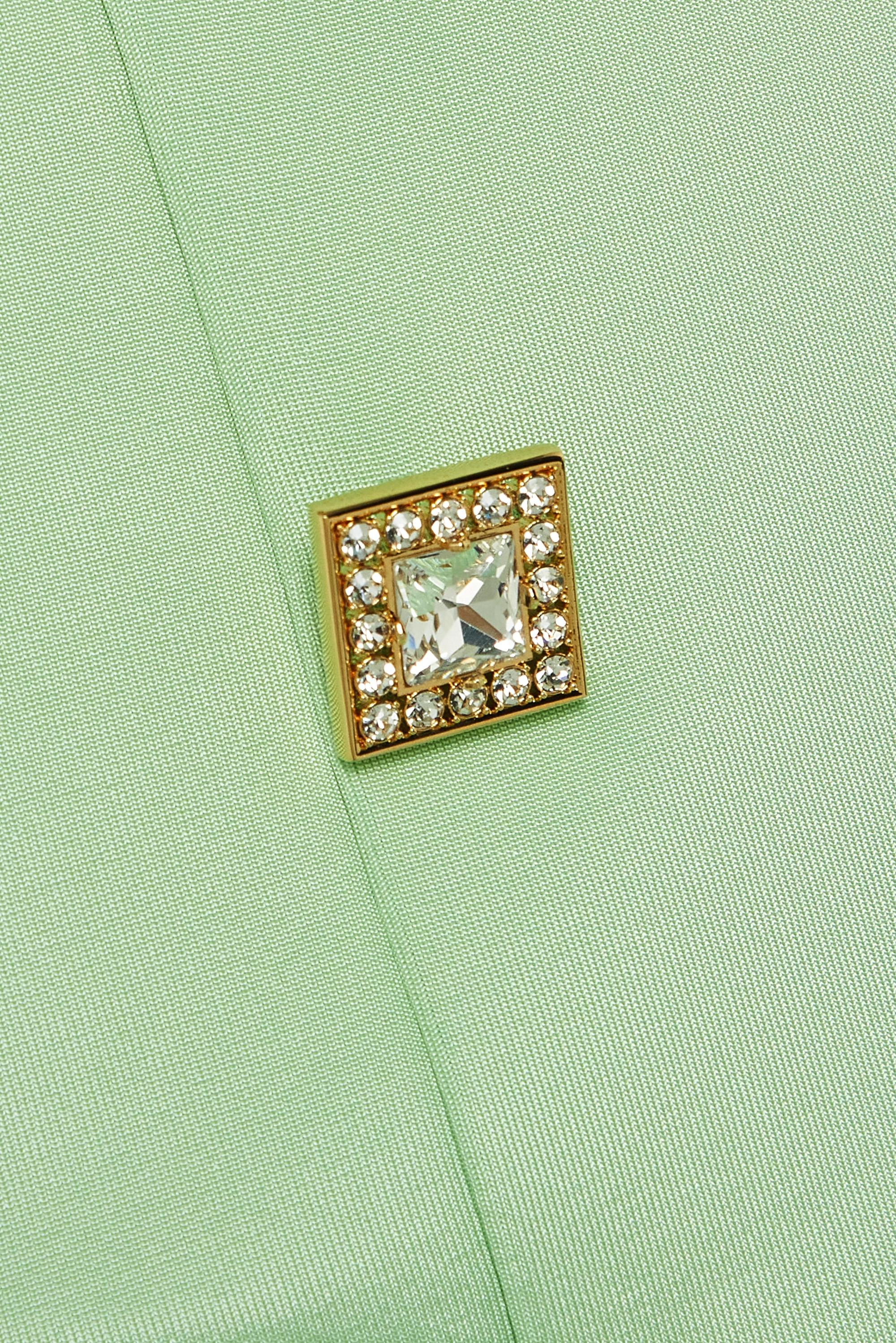 Balmain Schulterfreies Minikleid aus Crêpe mit Raffungen und Kristallen