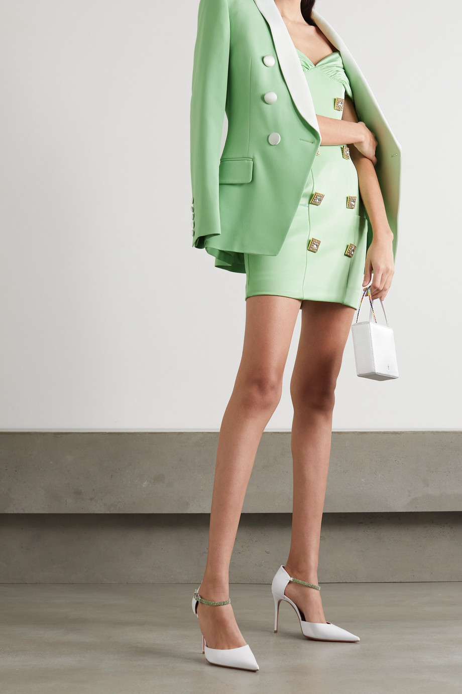 Balmain Off-the-shoulder ruched crystal-embellished crepe mini dress