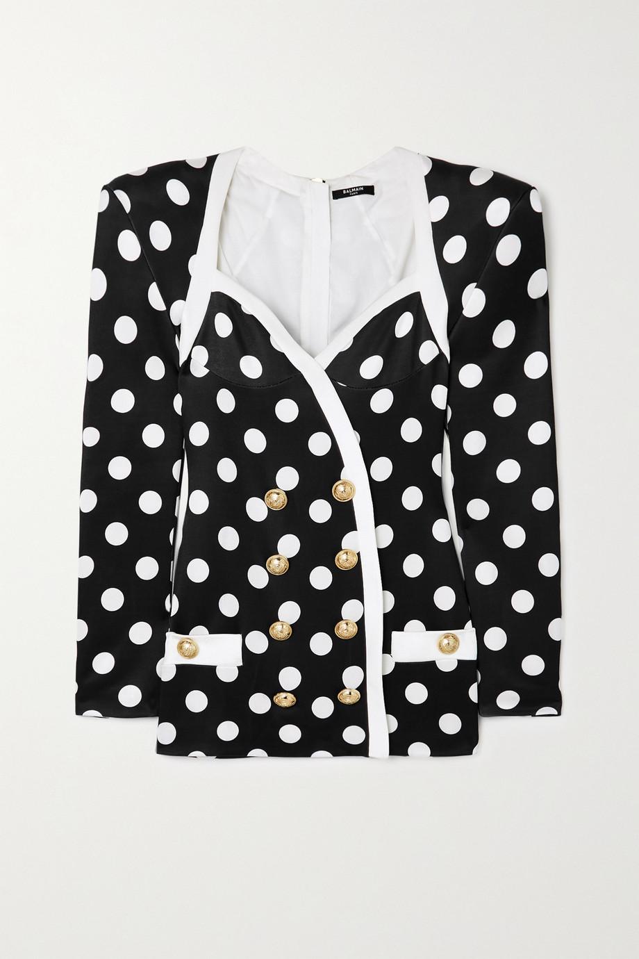 Balmain Button-embellished polka-dot satin mini dress