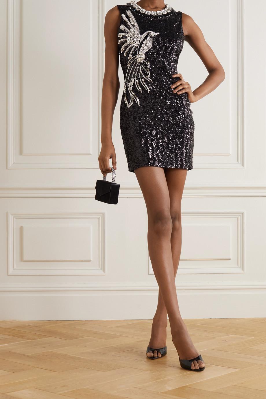 Balmain Crystal-embellished stretch-crepe mini dress