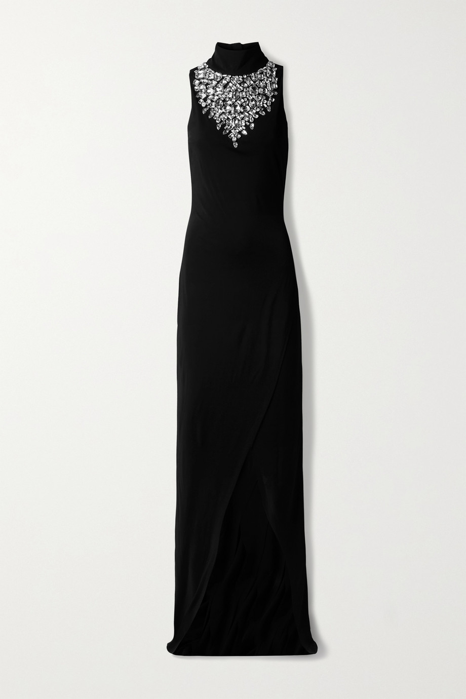 Balmain Crystal-embellished stretch-jersey turtleneck gown