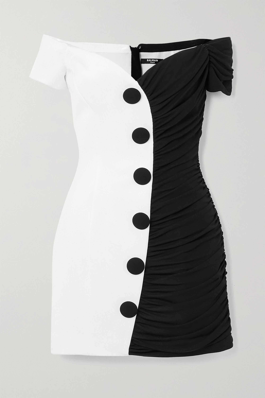 Balmain Off-the-shoulder two-tone crepe mini dress