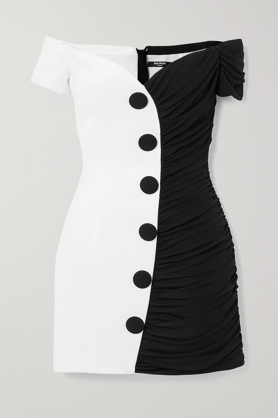 Balmain Mini-robe épaules nues en crêpe bicolore