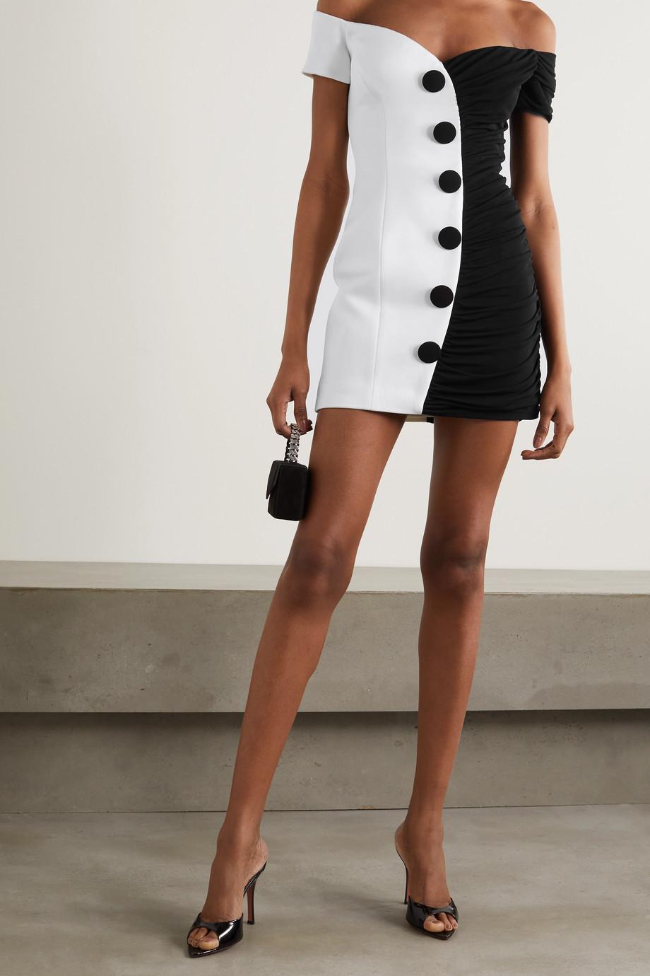 Balmain Schulterfreies, zweifarbiges Minikleid aus Crêpe