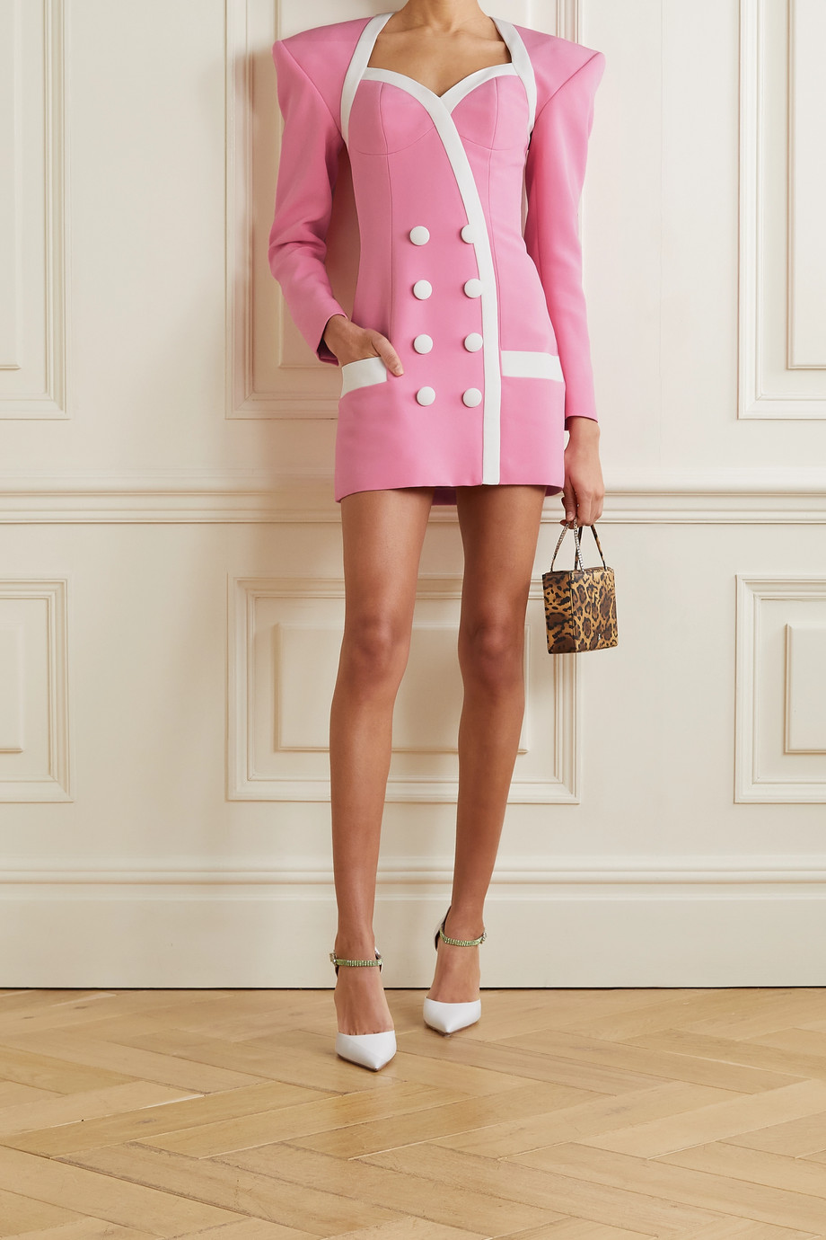 Balmain Button-detailed two-tone crepe mini dress