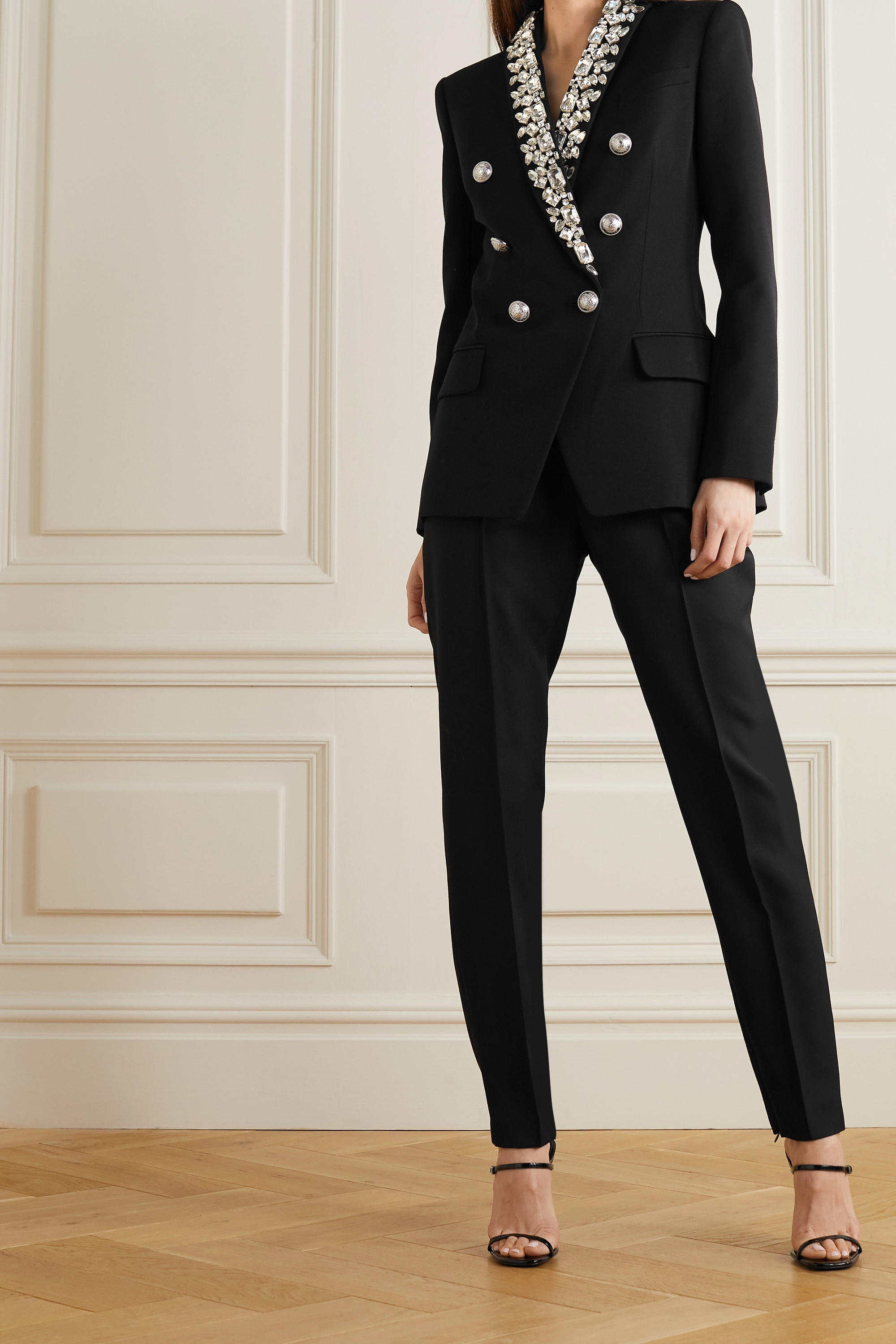 Balmain Double-breasted crystal-embellished cady blazer