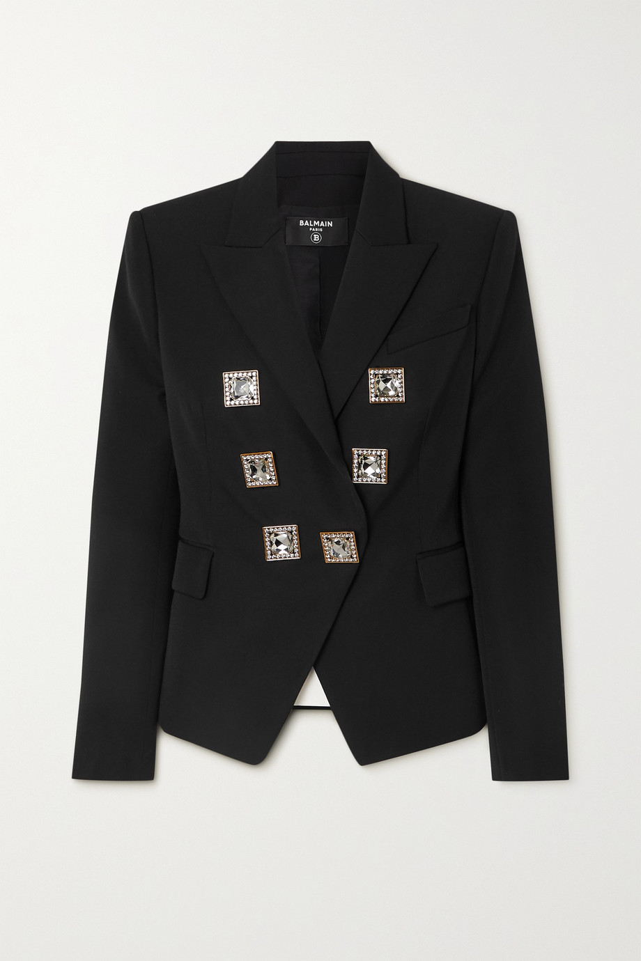 Balmain Double-breasted crystal-embellished grain de poudre wool blazer
