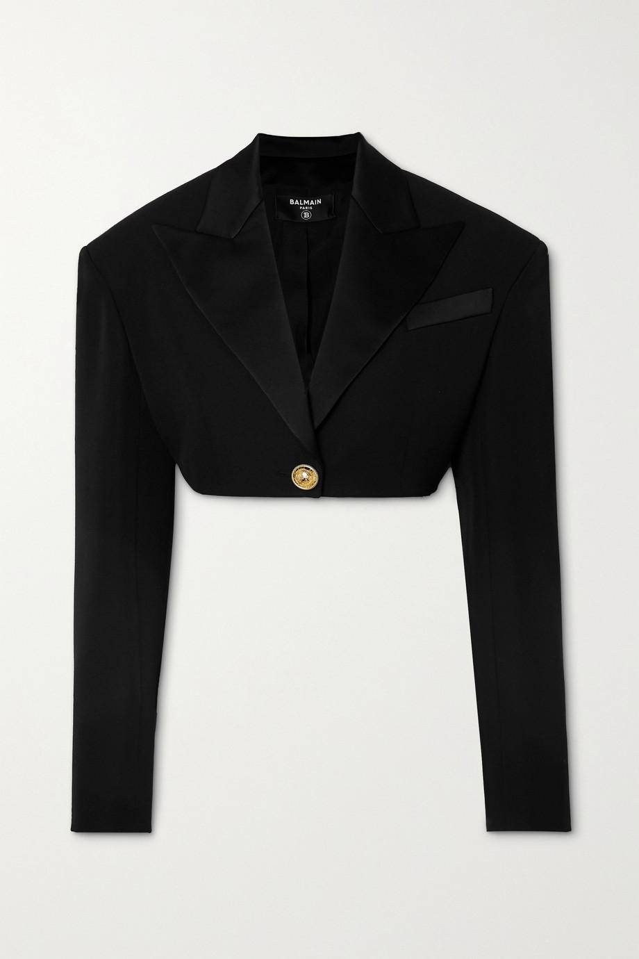 Balmain 缎布边饰粒纹羊毛短款外套