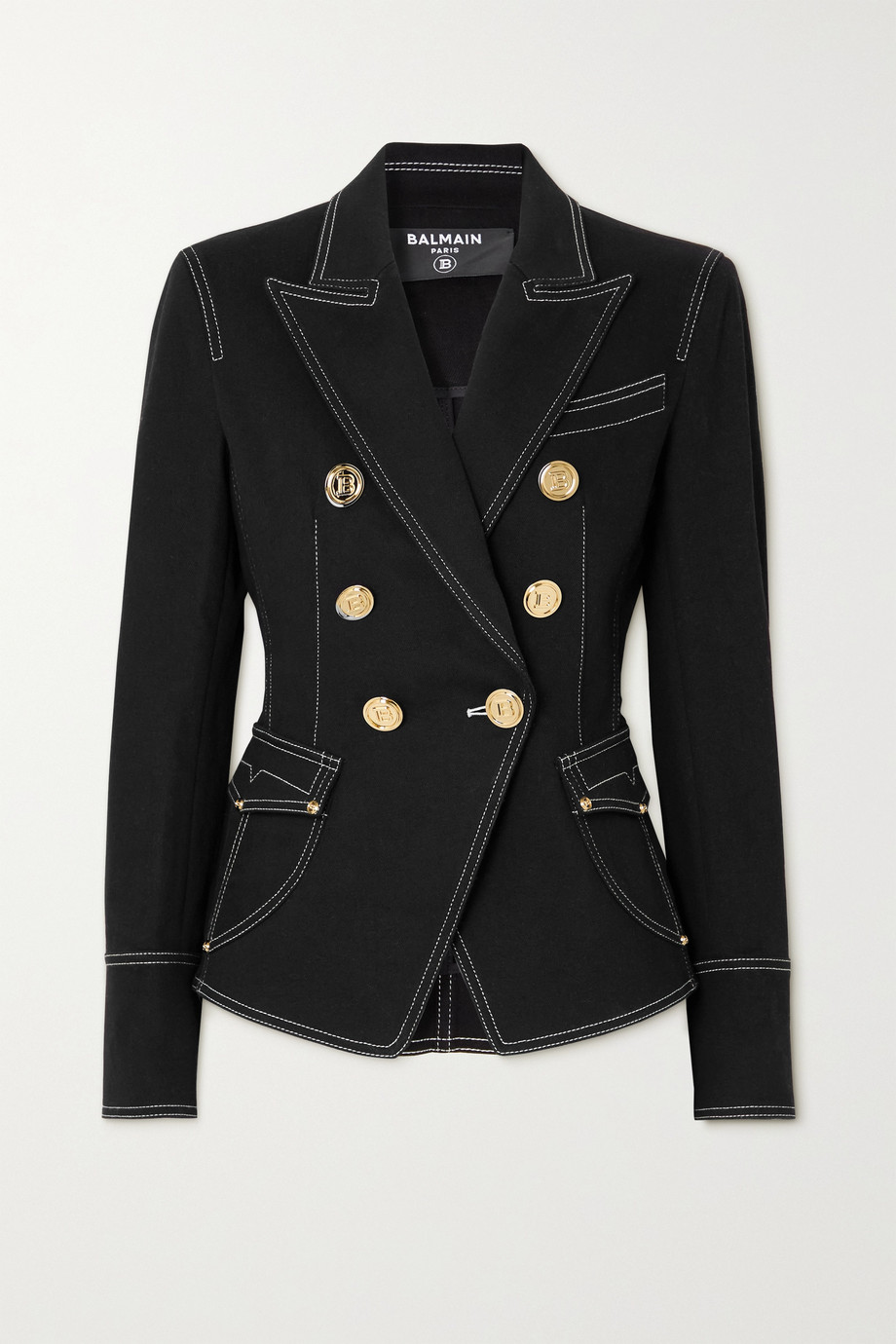 Balmain Double-breasted topstitched denim blazer
