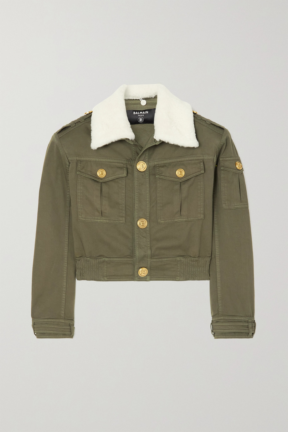 Balmain Button-embellished faux shearling-trimmed cotton-blend twill jacket