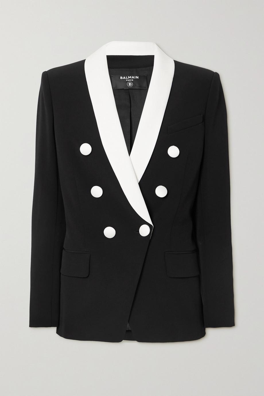 Balmain Double-breasted two-tone crepe blazer